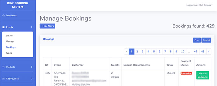 Dine Booking Portal